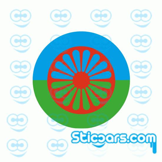 4227 zigeuner vlag rond 8 cm