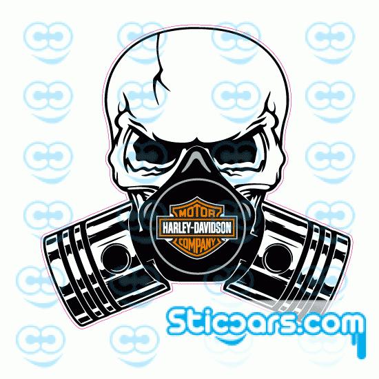 4259 piston skull harley davidson 10x10 cm