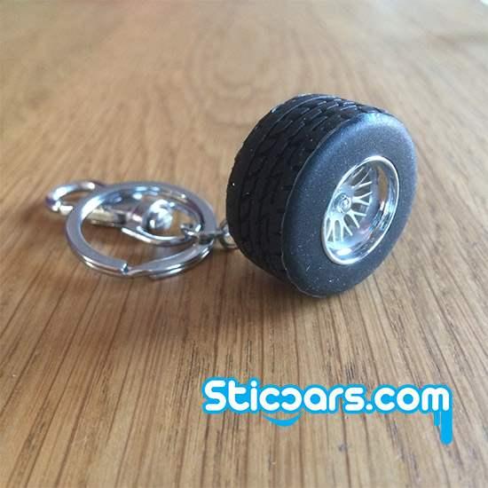 100 rubberen wiel met velg sleutelhanger