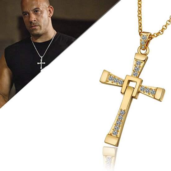 89 Vin Diesel ketting en kruis Fast and the Furious goud
