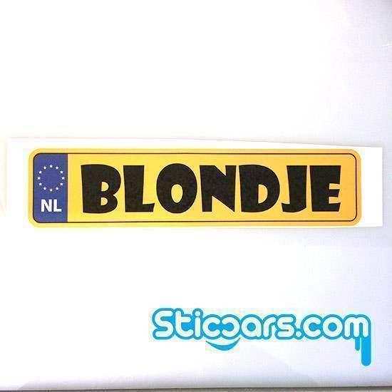 Statische sticker blondje 25 x 6 cm