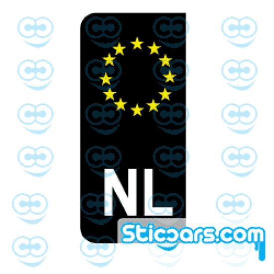 2240 Zwarte NL kentekenplaatsticker geel wit