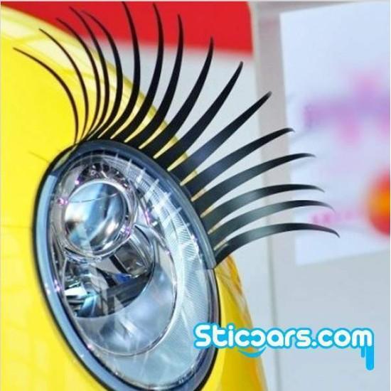 Wimpers auto koplamp (2 stuks) - zwart